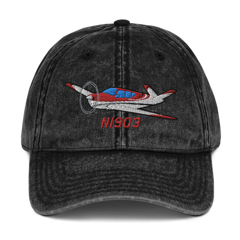Airplane Embroidered Vintage Cap - AIR2552FEC35-RSB1 - Personalized with Your N#