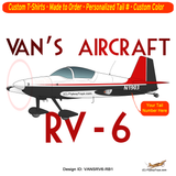 Van's Aircraft RV-6 (RV6) Airplane T-shirt - Personalized with Your N#