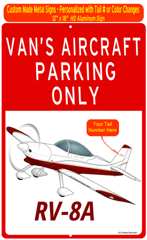 Van's Aircraft RV-8A (Red/Silver/Gold) HD Airplane Sign