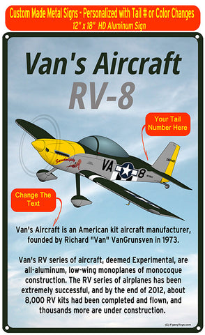 Van's Aircraft RV-8 (RV8) HD Airplane Sign - Black/Silver/Yellow