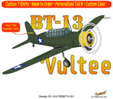 Vultee BT-13 Valiant Airplane T-shirt- Personalized with N#