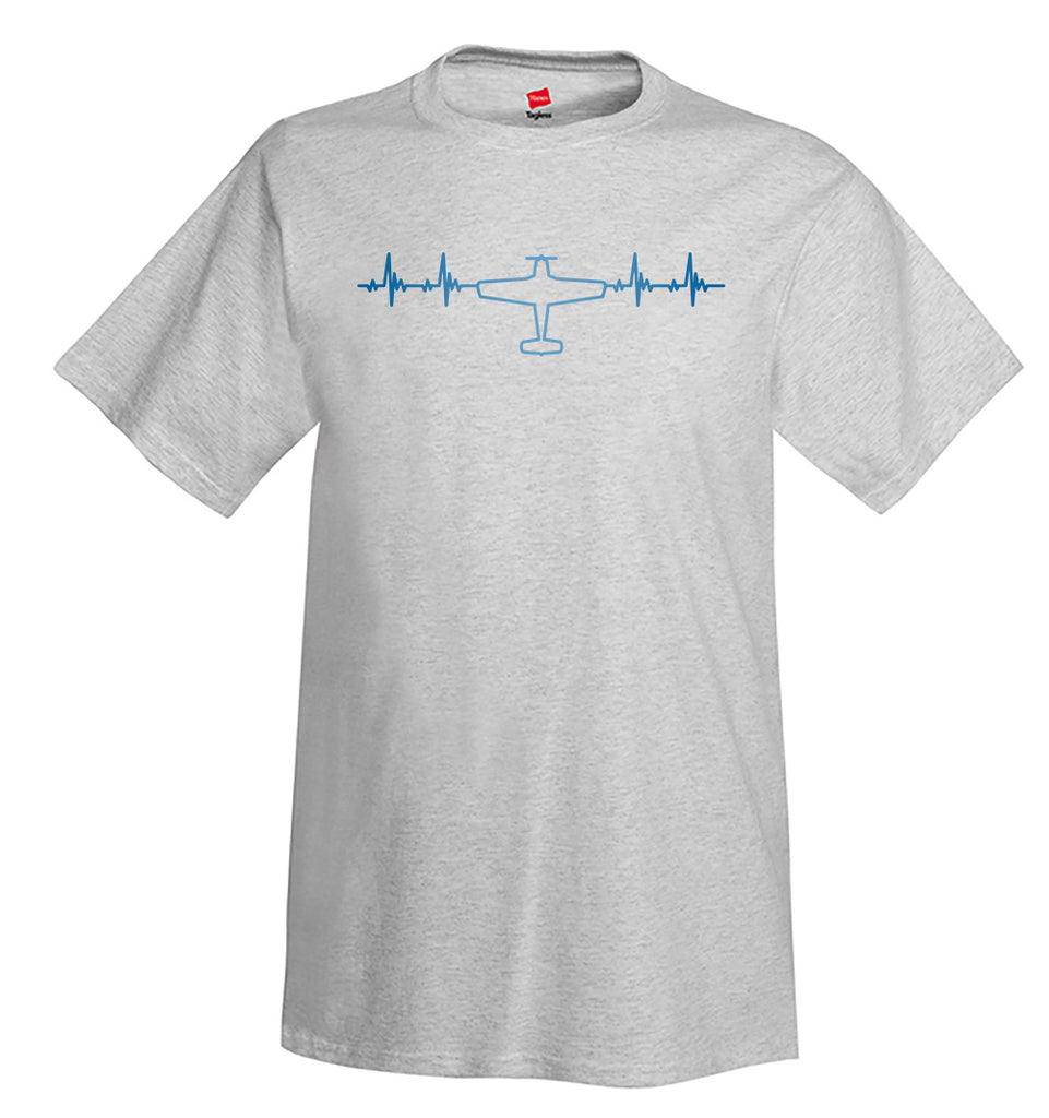 Heartbeat Plane Top View Rotated Airplane Aviation T-Shirt