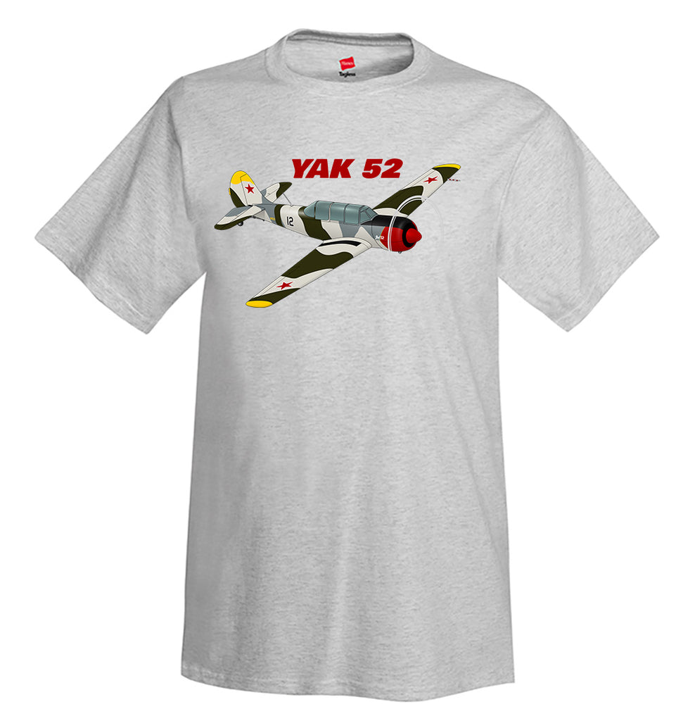 Yakovlev Yak-52 (Green/Silver) Airplane T-Shirt - Personalized with Your N#