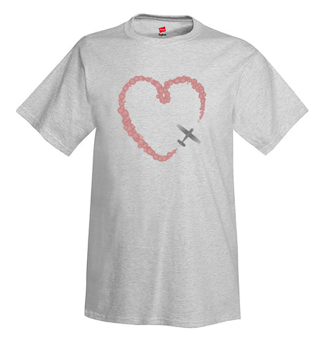 Smoke Heart Airplane Aviation T-Shirt