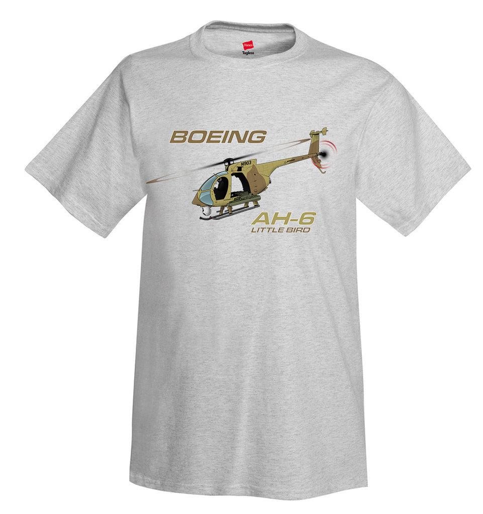 Boeing AH-6 Little Bird (Green) Helicopter T-Shirt - Personalized w/ Your N#