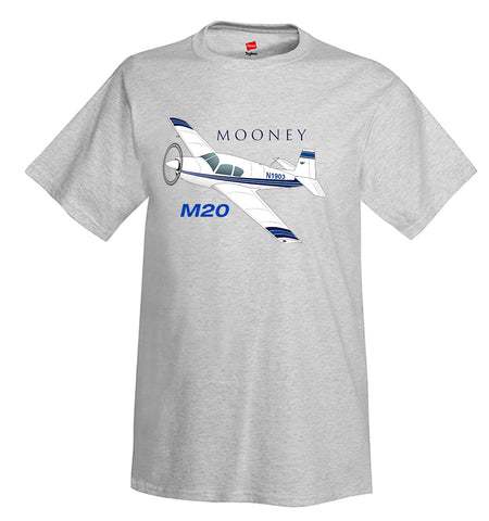 Mooney M20 / M20C (Blue/Black) Airplane T-Shirt - Personalized w/ Your N#