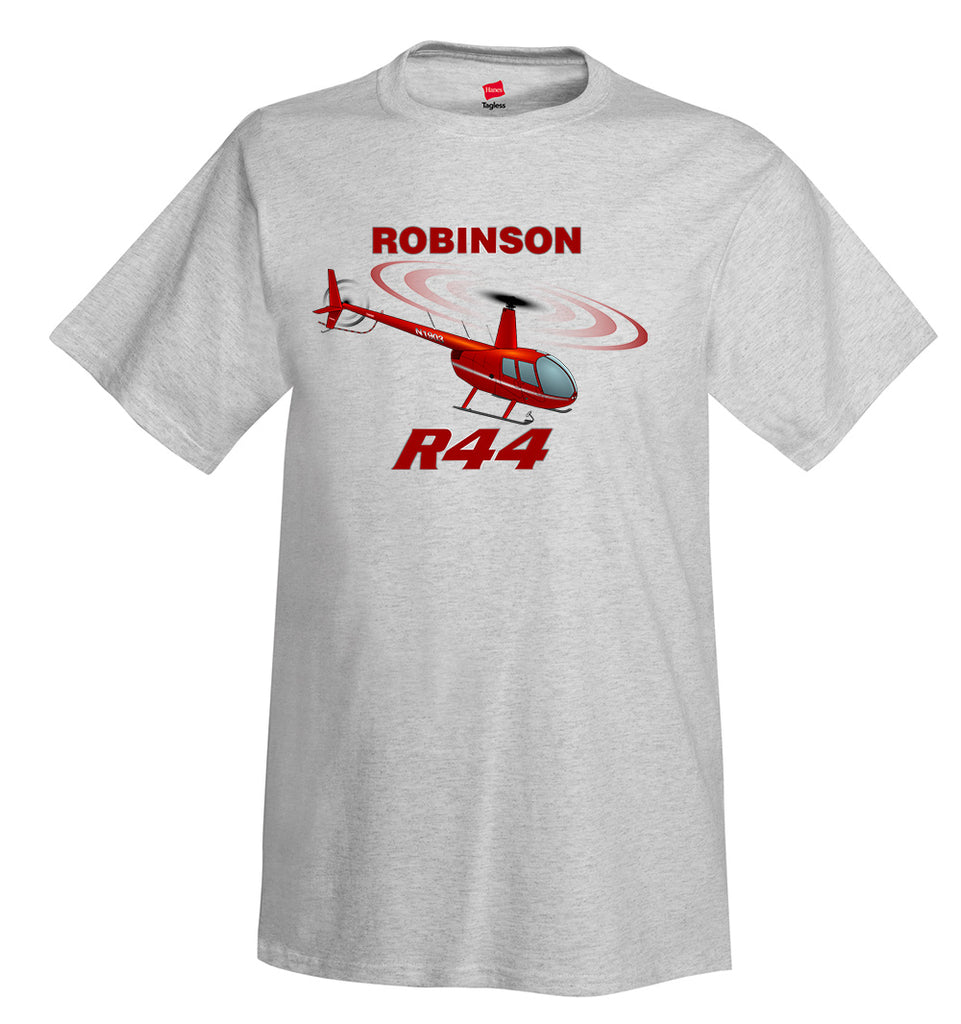 Robinson R44 (Red) Helicopter T-Shirt - Personalized with Your N#