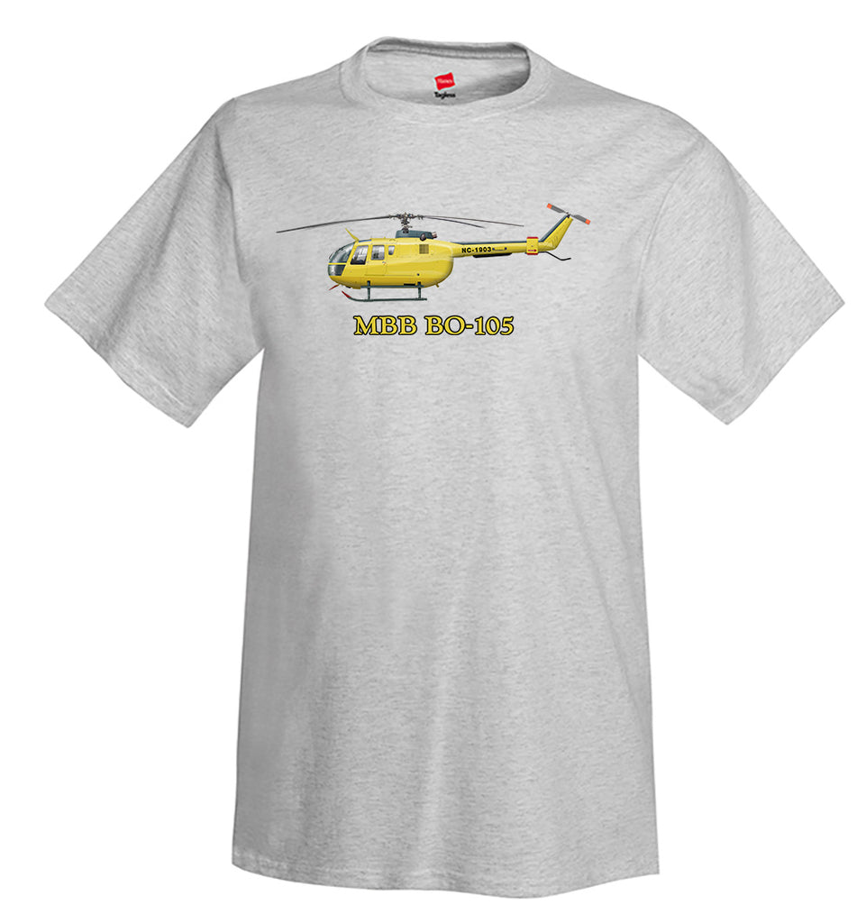 MBB Bo 105 Helicopter T-Shirt - Personalized with Your N#