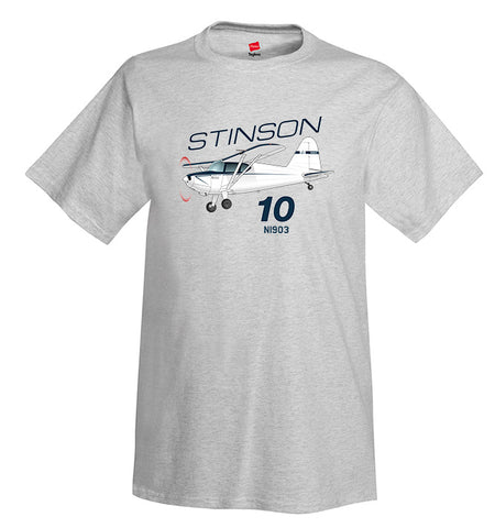 Stinson 10 (Blue) Airplane T-Shirt - Personalized with Your N#