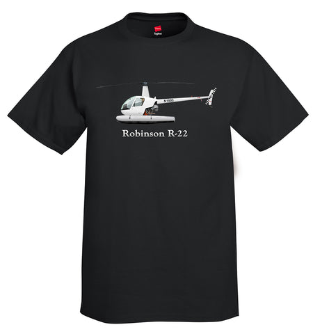 Robinson R-22 with Floats Helicopter T-Shirt - Personalized with Your N#