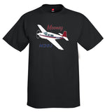 Mooney M20J / 201 (Red/Blue) Airplane T-Shirt - Personalized w/ Your N#