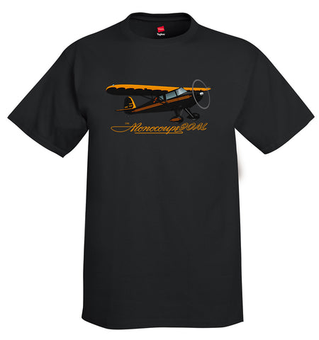 Monocoupe 90AL (Black/Orange) Airplane T-Shirt - Personalized w/ Your N#