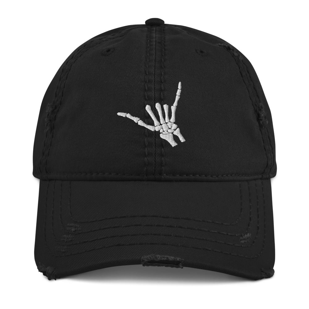Airplane Embroidered Distressed Cap (Skeleton's Hand)