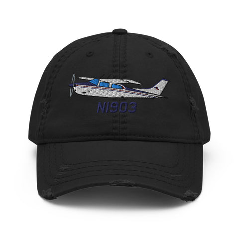 Airplane Design Embroidered Distressed Hat AIR35JJ210K-BM1 - Add your N#
