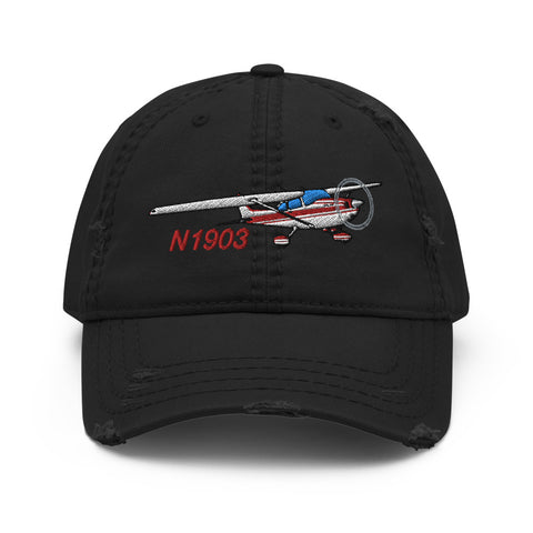 Airplane Design Embroidered Distressed Hat  AIR35JJ172-R6 - Add your N#