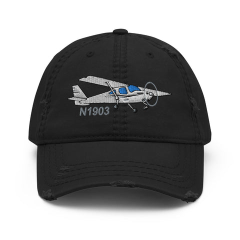 Airplane Design Embroidered Distressed Hat AIR35JJ162-BG1 - Add your N#