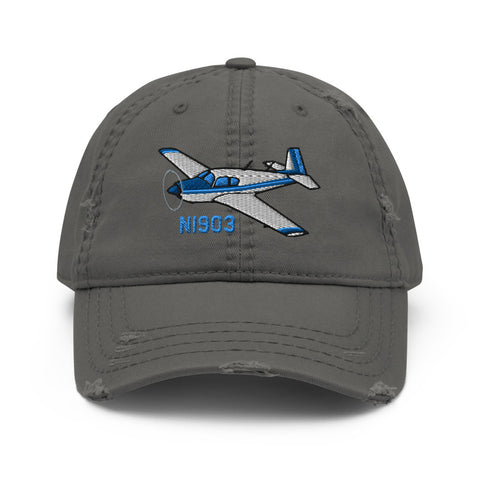 Mooney M20 Airplane Embroidered Distressed Hat AIRDFFM20B-B1 - Add your N#