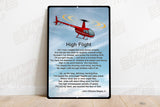 High Flight HD Airplane SIGN-HIGHFLIGHT-HELIIF2R44-R2 - Personalized with Your N#