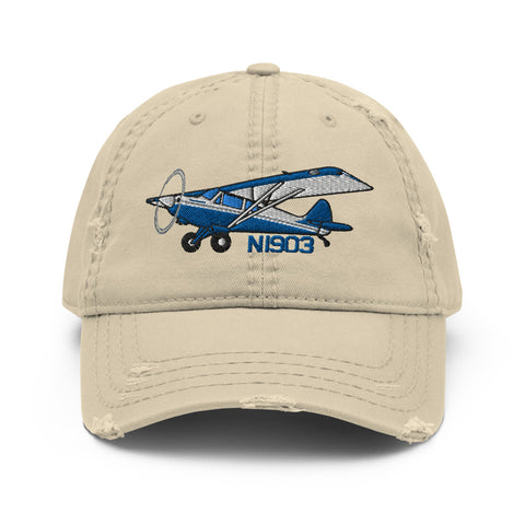 Airplane Embroidered Distressed Cap (AIR1M98LJ-B2) - Personalized with Your N#
