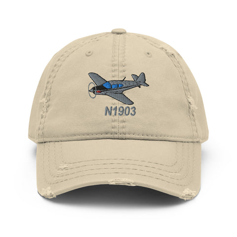 Airplane Embroidered Distressed Cap (AIRJN9GC1B-BLK1) - Personalized with Your N#