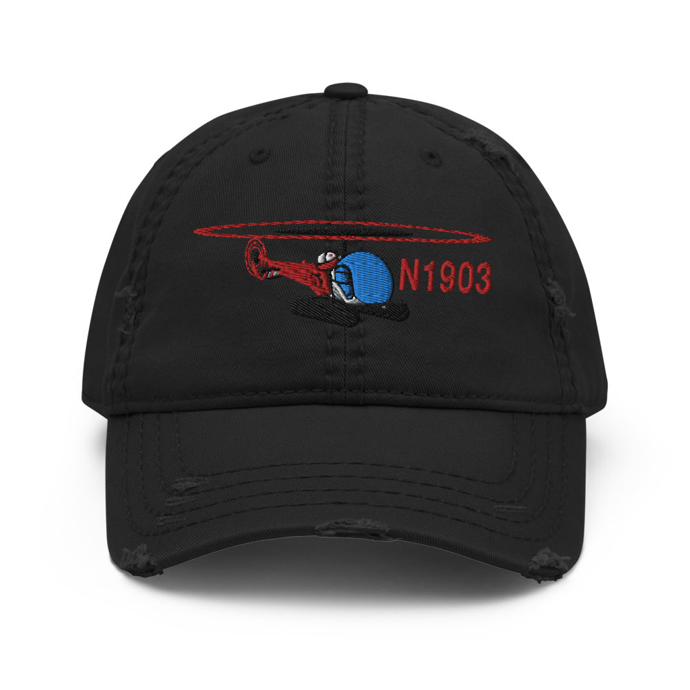 Airplane Embroidered Distressed Cap (HELI25C47-R2) - Personalized with Your N#