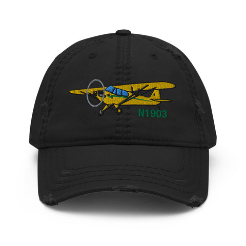 Airplane Embroidered Distressed Cap (AIRG9G3L2J3-YG1) - Personalized with Your N#
