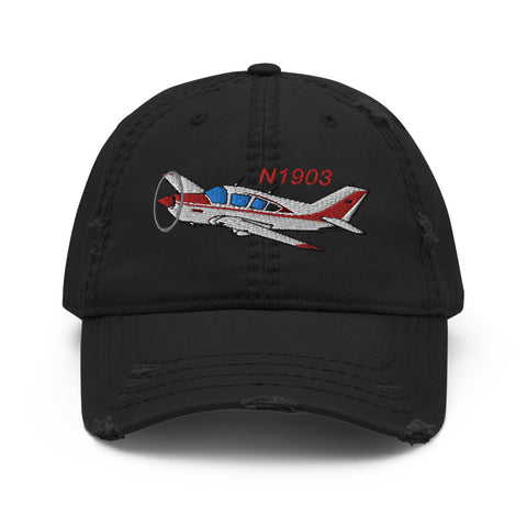 Airplane Embroidered Distressed Cap (AIR25CJLGM9B-R2) - Personalized