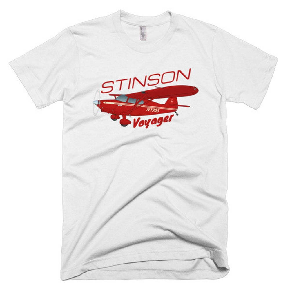 Stinson Voyager (Red) Airplane T-shirt - Personalized with Your N#