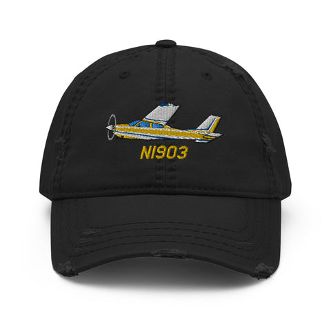 Airplane Embroidered Distressed Cap (AIR35JJ177-Y1) - Personalized with Your N#