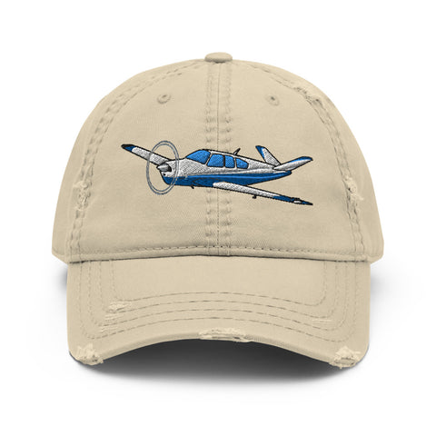 Airplane Embroidered Distressed Cap (AIR2552FES35-B2) - Personalized with Your N#