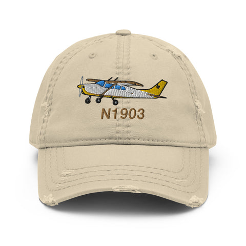 Airplane Embroidered Distressed Cap (AIR35JJ210A-YB1) - Personalized with Your N#