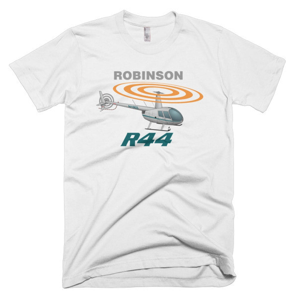Robinson R44 (Silver) Helicopter T-shirt - Personalized with Your N#