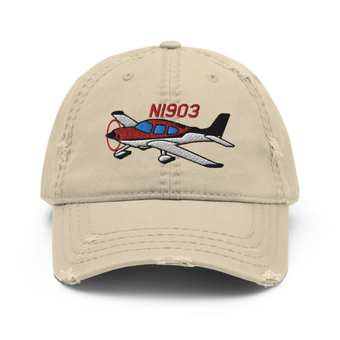 Airplane Embroidered Distressed Cap (AIR39ISR22-RB1) - Personalized with Your N#