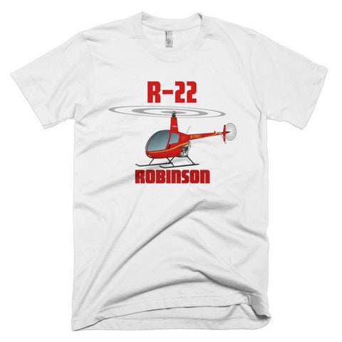 Robinson R22 (Red) Helicopter T-shirt - Personalized with Your N#