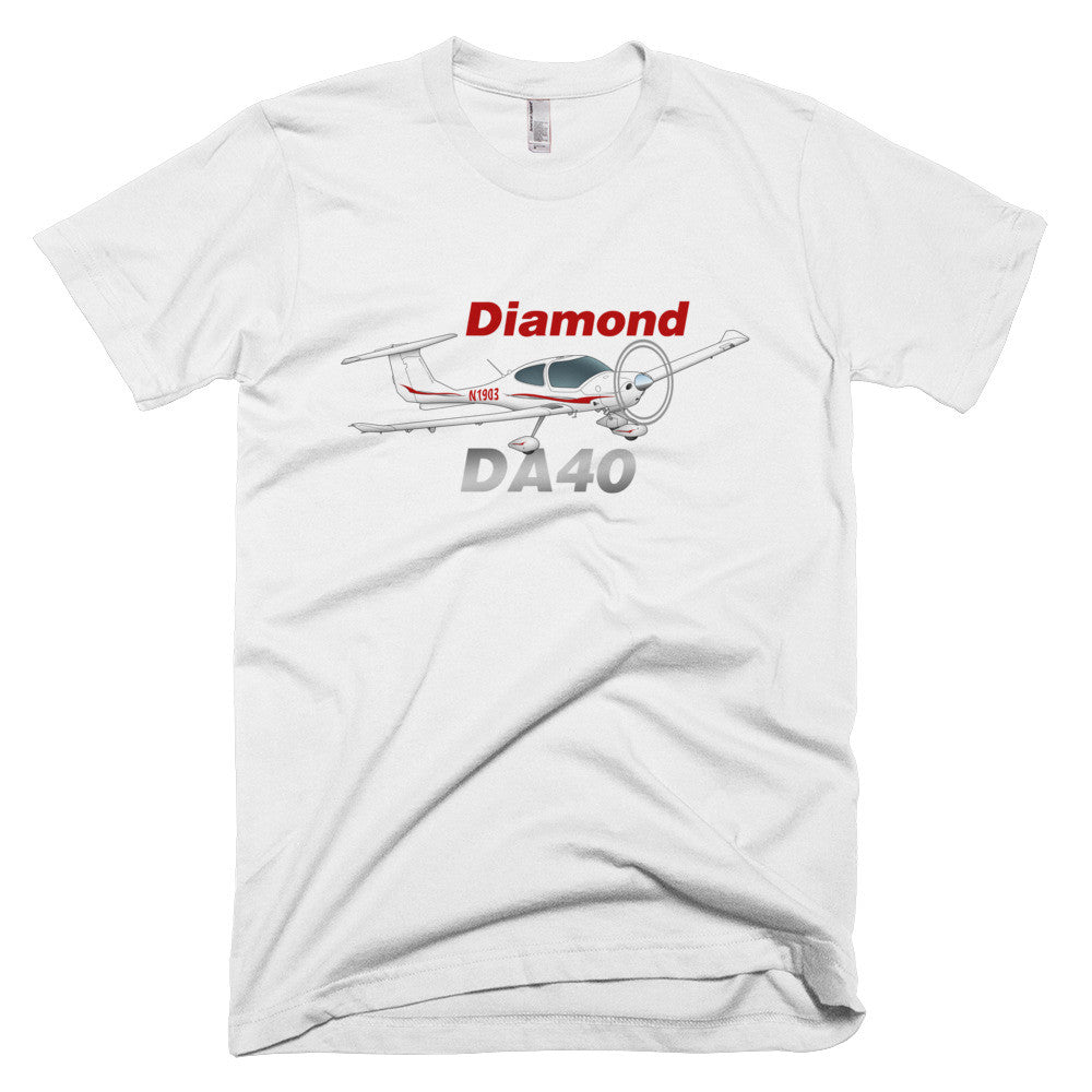 Diamond DA-40 (Red/Silver) Airplane T-shirt- Personalized with N#