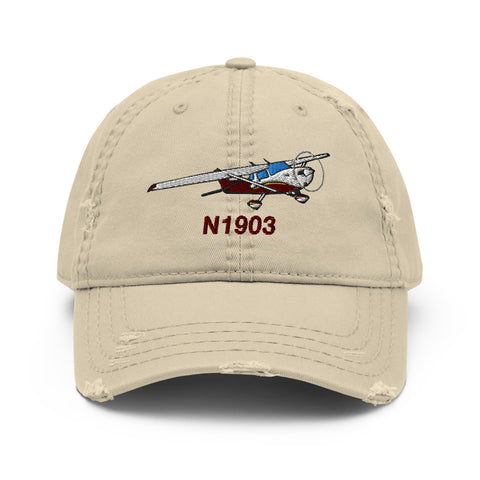 Airplane Embroidered Distressed Cap (AIR35JJ150-R11) - Personalized with Your N#
