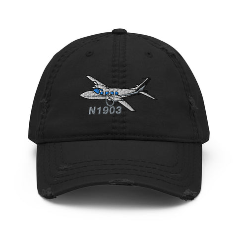 Airplane Embroidered Distressed Cap (AIRG9G15I600-BS1) - Personalized with Your N#