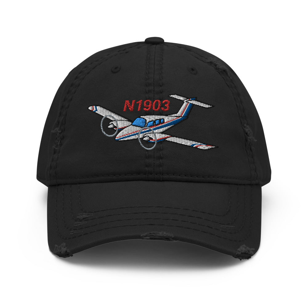 Airplane Embroidered Distressed Cap (AIR2554L3-BR2) - Personalized with Your N#