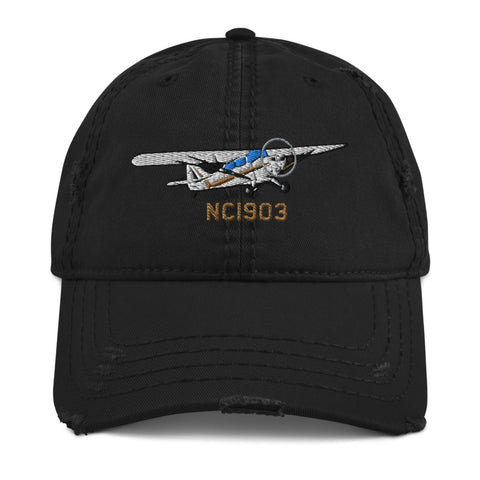 Airplane Embroidered Distressed Cap (AIRJ5I381-B4)- Personalized with Your N#