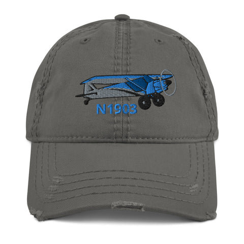 Airplane Embroidered Distressed Cap AIR214KI1-SB1- Personalized with Your N#