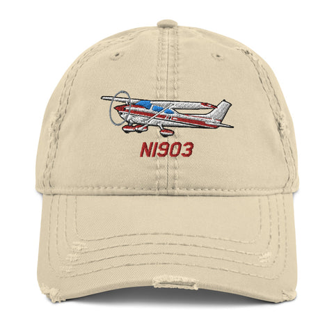 Airplane Embroidered Distressed Cap AIR35JJ182-BURG1 - Personalized w/ Your N#