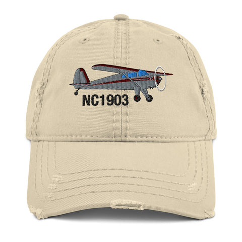 Airplane Embroidered Distressed Cap (AIRCLJ8A-SR1) - Personalized with Your N#