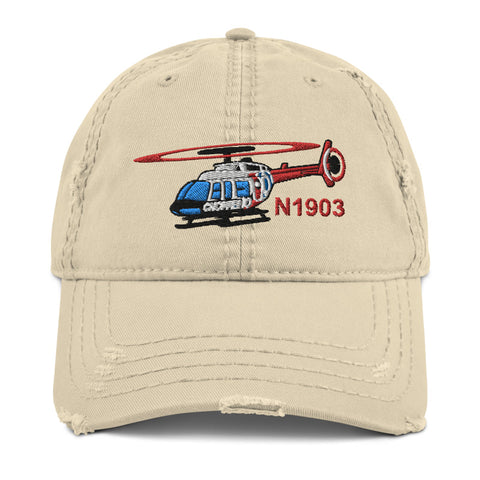 Airplane Embroidered Distressed Cap HELI25C206-RB2 - Personalized w/ Your N#