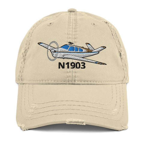 Airplane Embroidered Distressed Cap AIR2552FES35-BT1 - Personalized w/ Your N#