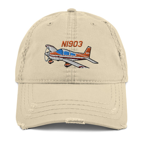 Airplane Embroidered Distressed Cap (AIR7ILK97AA1-OR1) - Personalized with Your N#
