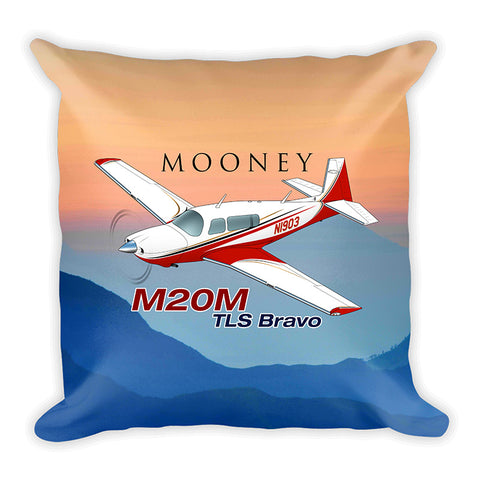 Mooney M20M TLS Bravo Airplane Custom Throw Pillow Case Stuffed & Sewn