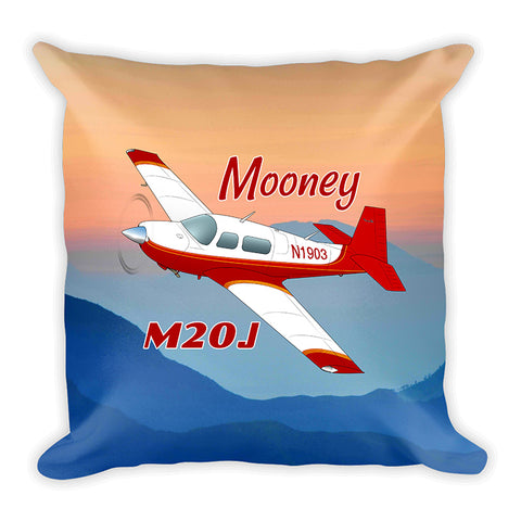 Mooney M20J / 201 Airplane Custom Throw Pillow Case Stuffed & Sewn