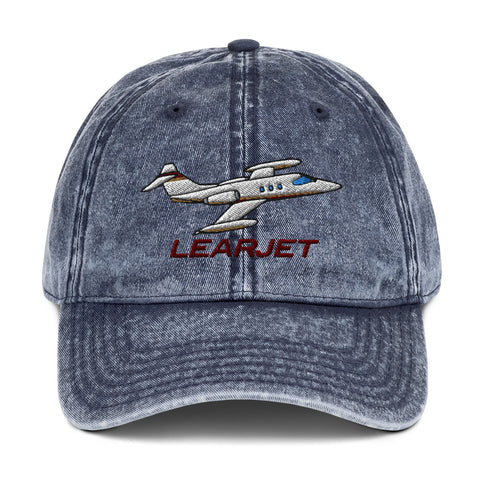 Learjet Airplane Embroidered Vintage Cap (AIRC5124-RG1) - Add your N#