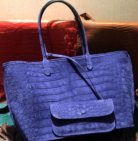 suede nile leather tote bag for women