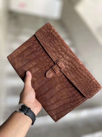 suede nile crocodile leather clutches